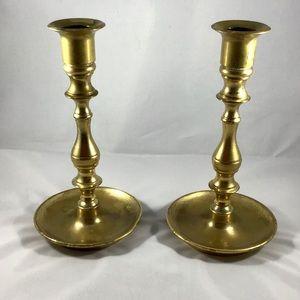 Vintage Accents - Set 2 Vintage Brass Candlesticks Boho Romantic